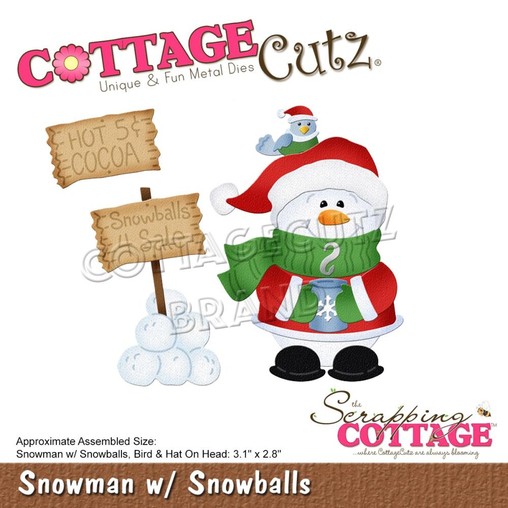 CottageCutz Dies - Snowman with Snowballs, 3.1 inch To 2.8 inch