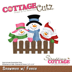 CottageCutz Dies - Snowmen with Fence, 3.2 inch To 2.4 inch