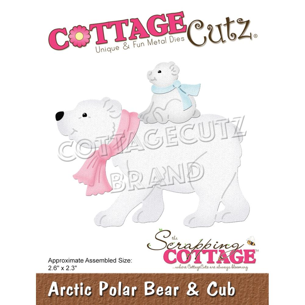 CottageCutz Dies - Arctic Polar Bear & Cub, 2.6in x 2.3in