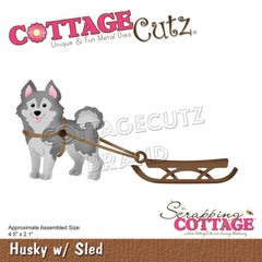 CottageCutz Dies - Husky with Sled, 4.5in x 2.1in
