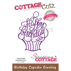 CottageCutz Elites Die - Birthday Cupcake Greeting, 2.1 inchX2.8 inch