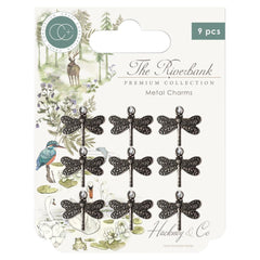 Craft Consortium The Riverbank Metal Charms 9 pack - Silver Dragonfly