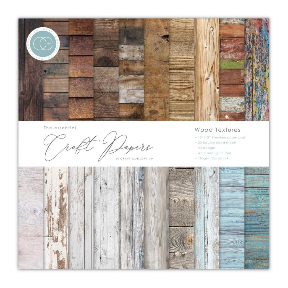 Craft Consortium - Double-Sided Paper Pad 12X12 - Wood Textures