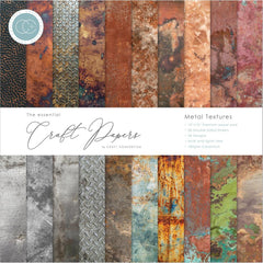 Craft Consortium - Double-Sided Paper Pad 12 inch X12 inch  30 pack  Metal Textures, 20 Designs
