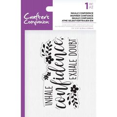 Crafter's Companion Clear Acrylic Quirky Stamp 2.5in x 3.5in - Inhale Confidence
