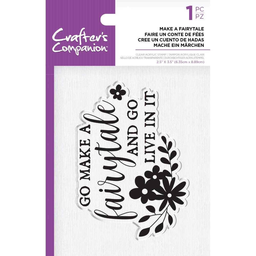 Crafter's Companion Clear Acrylic Quirky Stamp 2.5in x 3.5in - Make A Fairytale