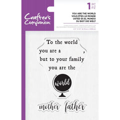 Crafter's Companion Clear Acrylic Quirky Stamp 2.5in x 3.5in - You Are The World