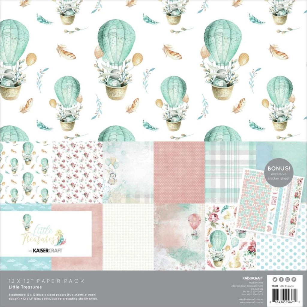 Kaisercraft Paper Pack 12in x 12in 12/Pkg - Little Treasures