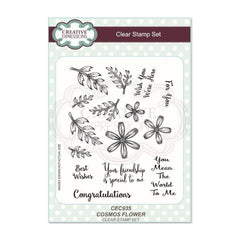 Creative Expressions Clear Stamp Set - Cosmos Flower A5 Clear Stamp Set