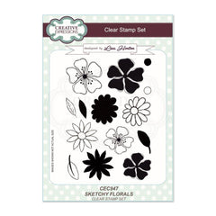 Creative Expressions - Sketchy Florals A5 Clear Stamp Set