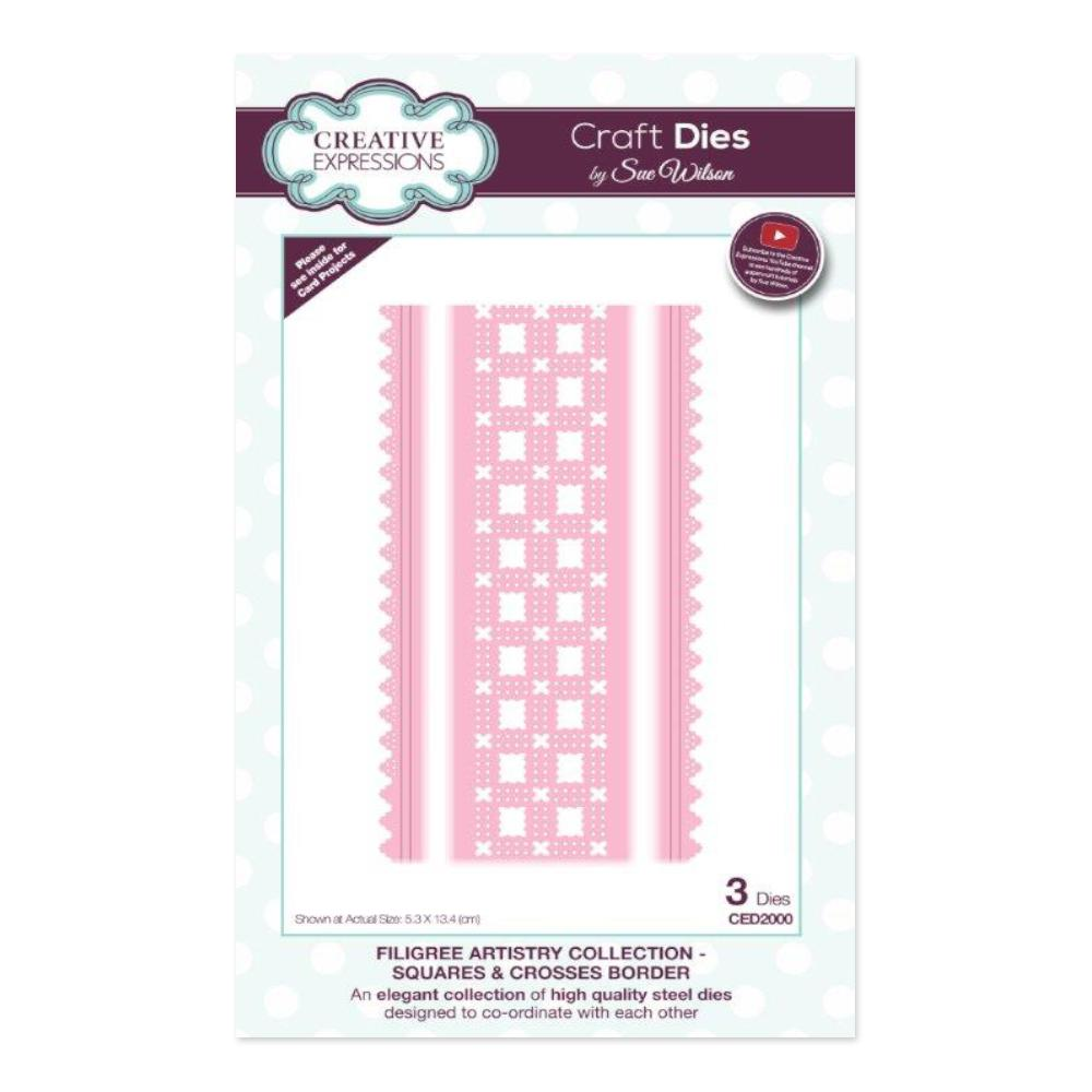 Creative Expressions - Filigree Artistry Collection Squares & Crosses Border Craft Die