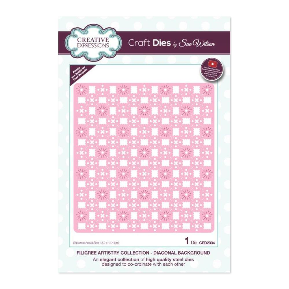 Creative Expressions - Filigree Artistry Collection Diagonal Background Craft Die