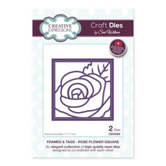 Creative Expressions - Frames and Tags Collection Rose Flower Square