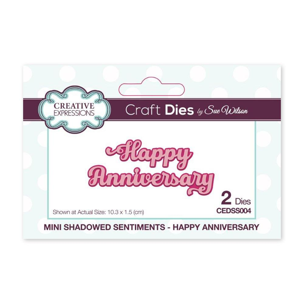 Creative Expressions - Mini Shadowed Sentiments Happy Anniversary