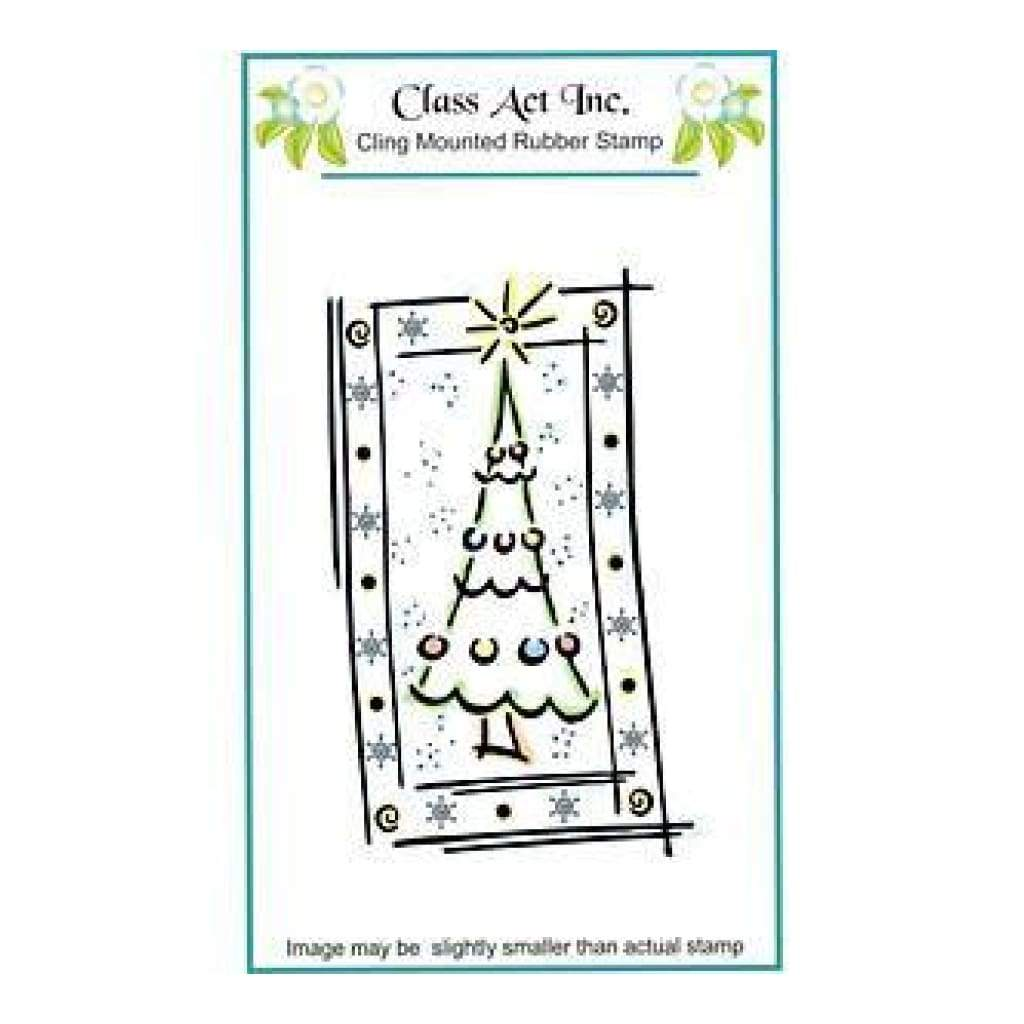 Class Act Cling Mounted Rubber Stamp 3.25In.X5.5In. Framed Tree