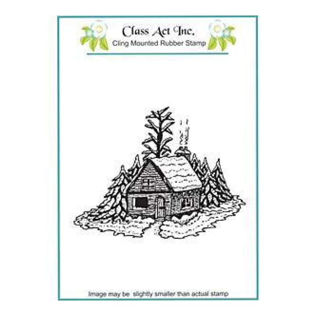 Class Act Cling Mounted Rubber Stamp 4.25In.X5.75In. Winter Cabin