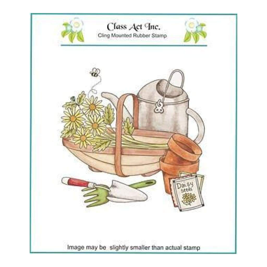 Class Act Cling Mounted Rubber Stamp 5.75 Inch X6.75 Inch - Planting Time