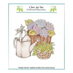 Class Act Cling Mounted Rubber Stamp 5.75 Inch X6.75 Inch  Watering Hydrangeas