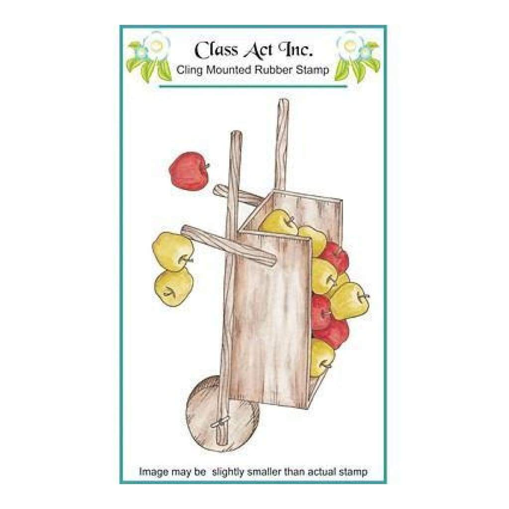 Class Act Cling Mounted Rubber Stamp - Apple Cart