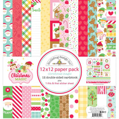 Doodlebug - Double-Sided Paper Pack 12 inchX12 inch 12 pack - Christmas Magic