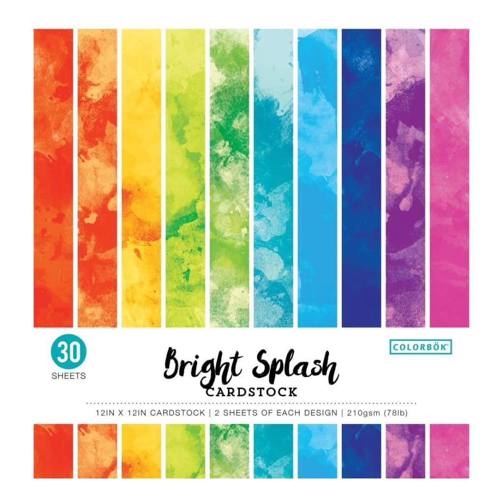 Colorbok 78lb Single-Sided Printed Cardstock 12X12 30 pack Watercolor Bright Splash