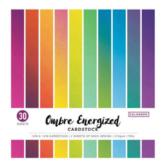 Colorbok 78lb Single-Sided Printed Cardstock 12 inch X12 inch 30 pack Ombre Energized