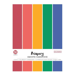 Colorbok 78lb Smooth Cardstock 8.5 inch X11 inch 50 pack Primary, 5 Colours/10 Each
