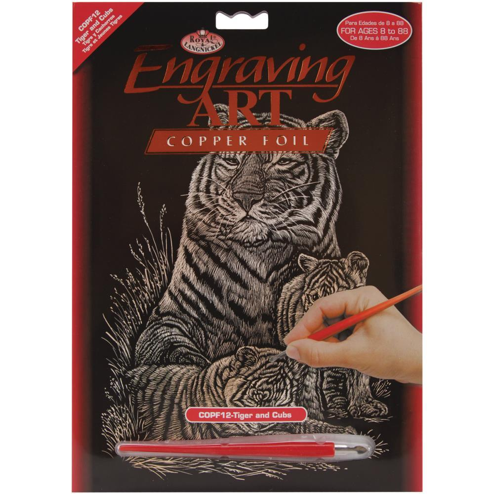 Royal Brush - Copper Foil Engraving Art Kit 8 inch X10 inch - Tiger & Cubs