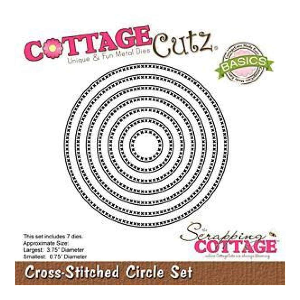 Cottagecutz Basics Dies 7 Pack  Cross Stitched Circle .75Inch To 3.75Inch