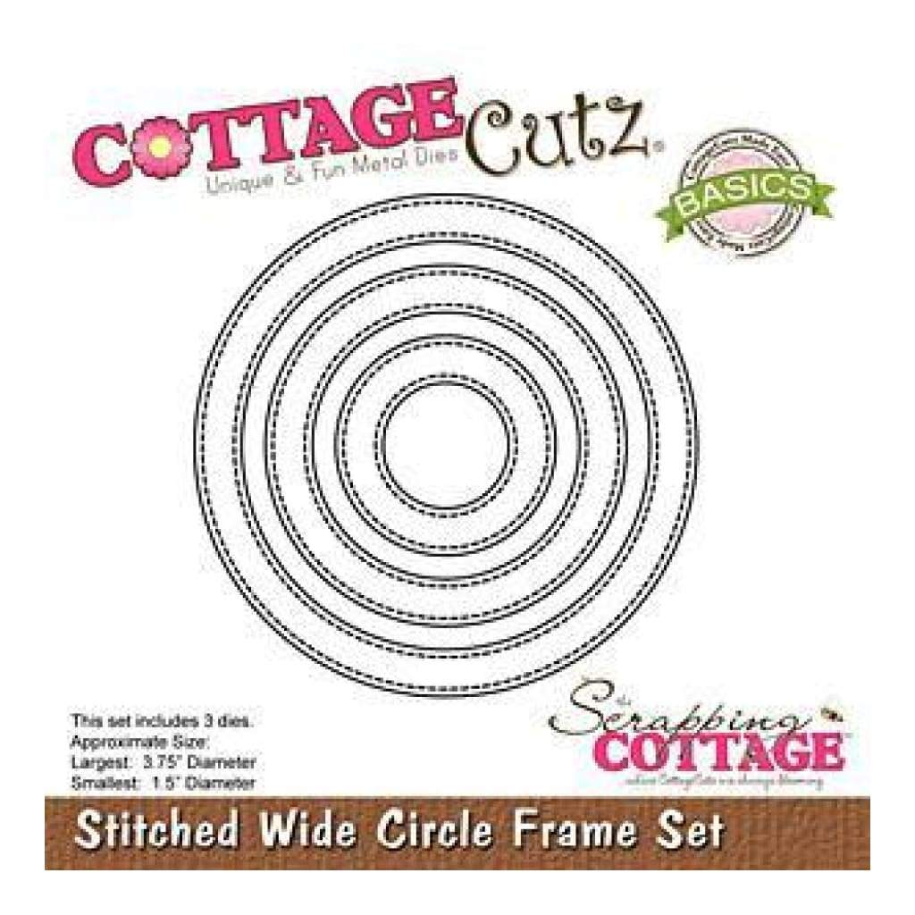 Cottagecutz Basics Wide Frame Dies 3 Pack  Stitched Circle 1.5Inch To 3.75Inch