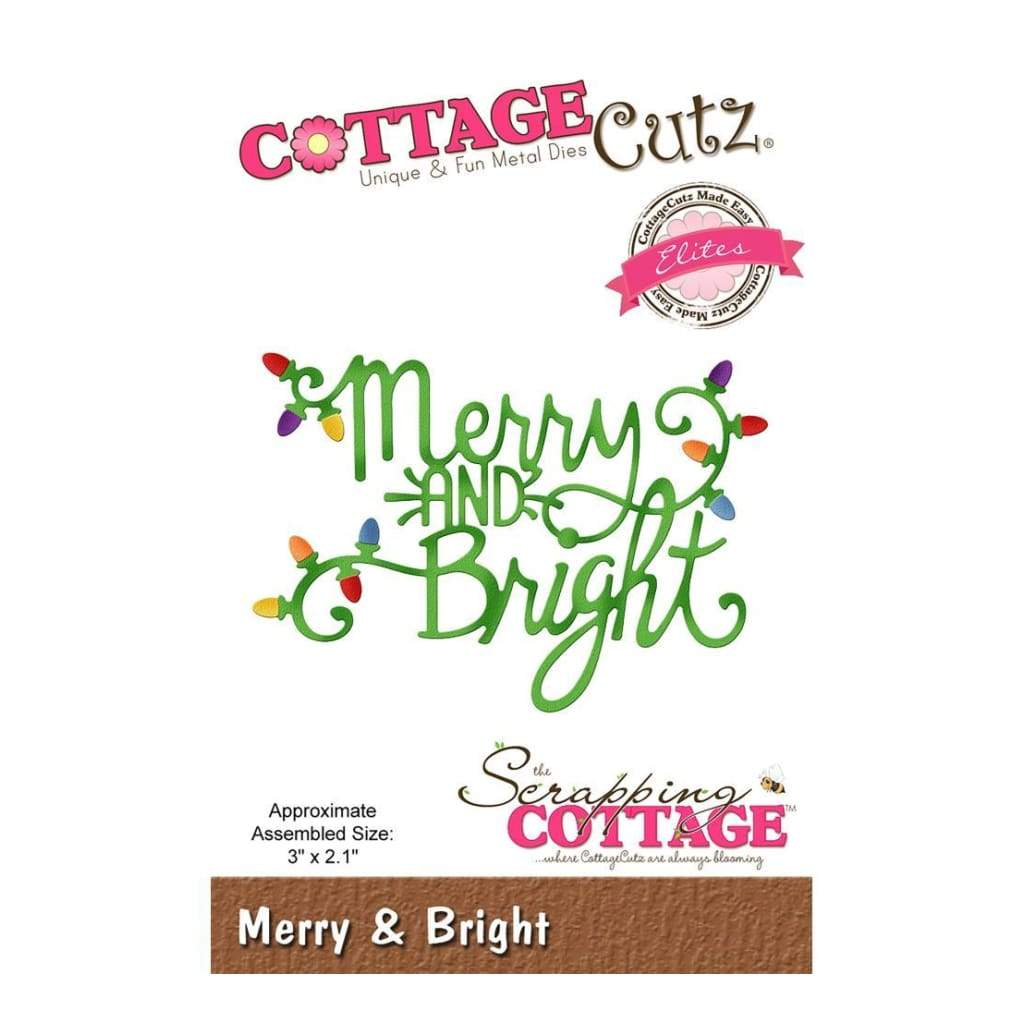 CottageCutz Elites Die - Merry & Bright 3inch X2.1inch