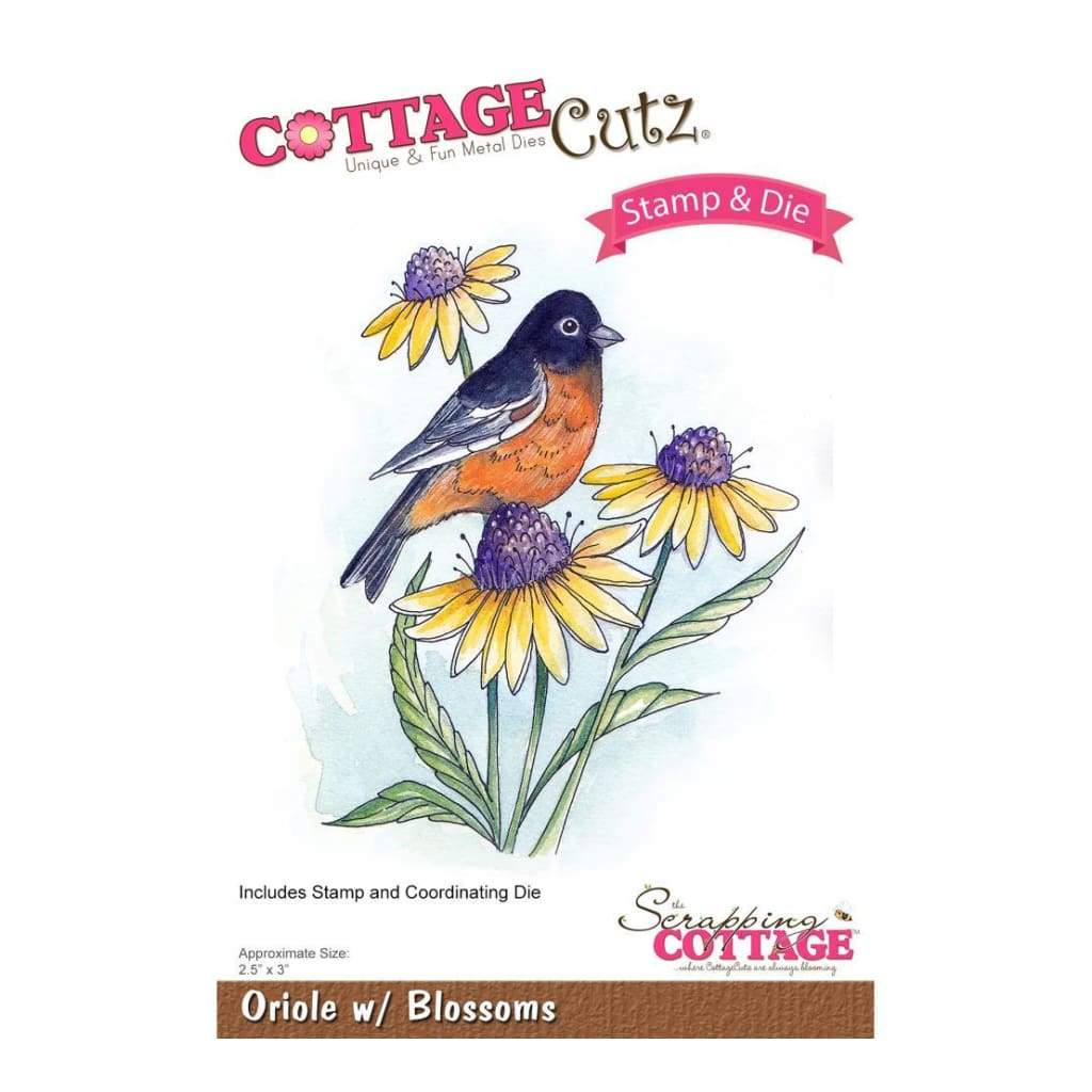 CottageCutz Stamp & Die Set Oriole with Blossoms 2.5inch X3inch