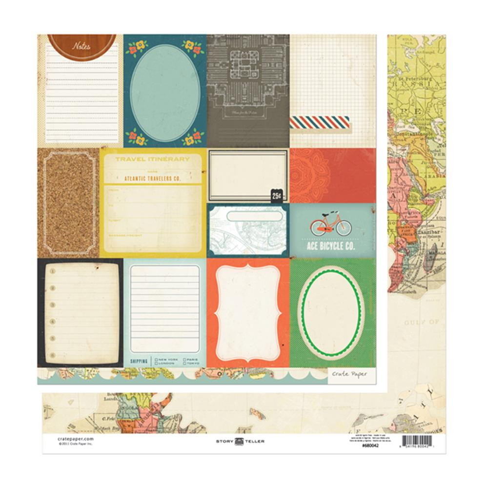 American Crafts - Crate Paper - Story Teller Collection - 12 x 12 Double Sided Paper - Accent Cuts