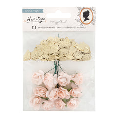 Crate Paper - Maggie Holmes Heritage Collection - Paper Flowers and Gold Leaf Sequins