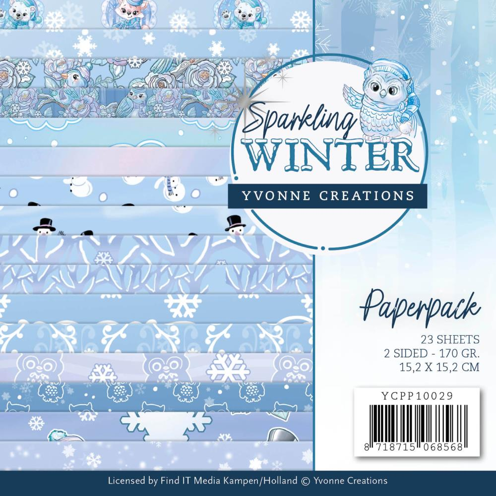 Find It Trading Yvonne Creations Paper Pack 6in x 6in 23 pack Sparkling Winter, Double-Sided