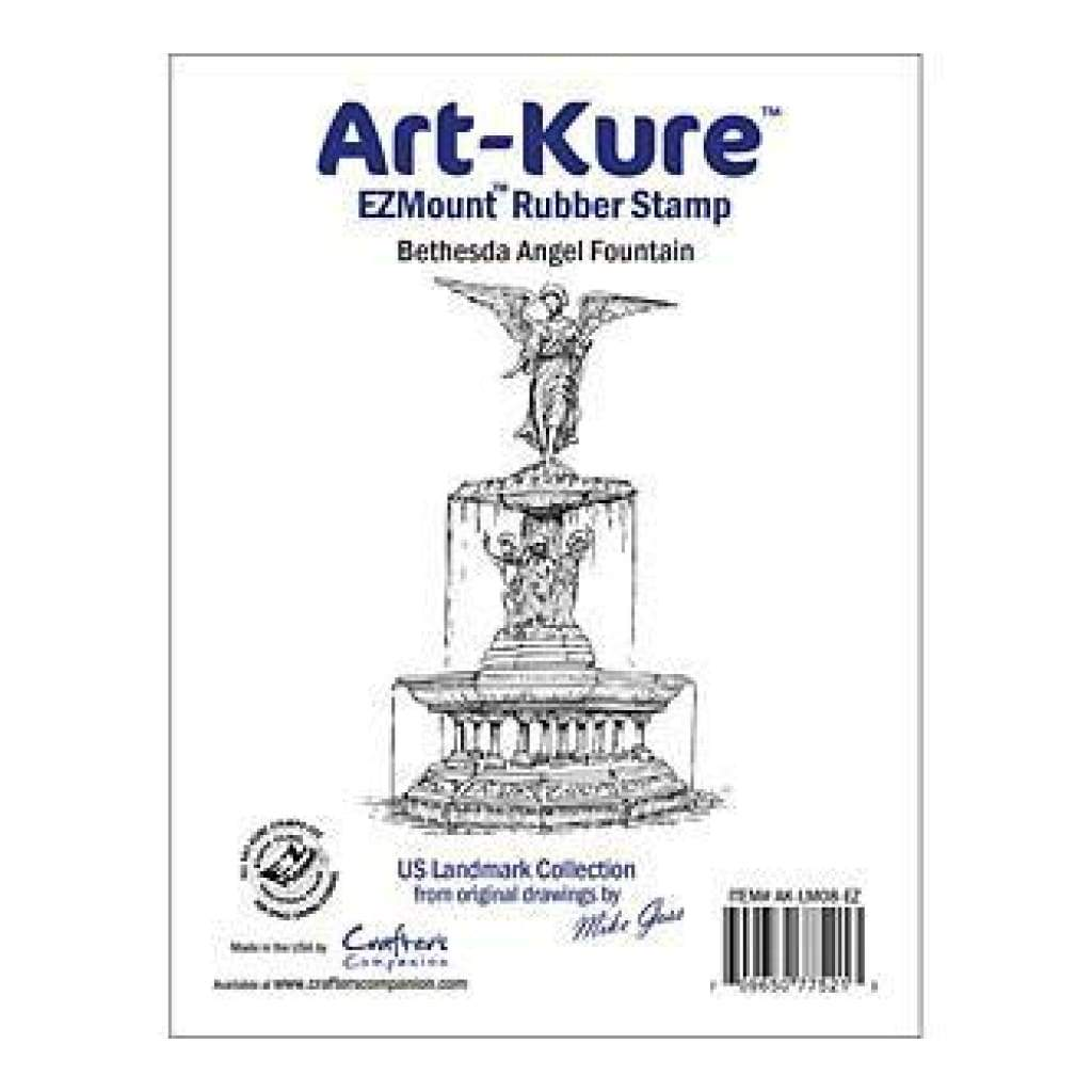 Crafters Companion -  Art Kure - Bethesda Angel Fountain Landmarks Ezmount Stamp 4In X 3.75In