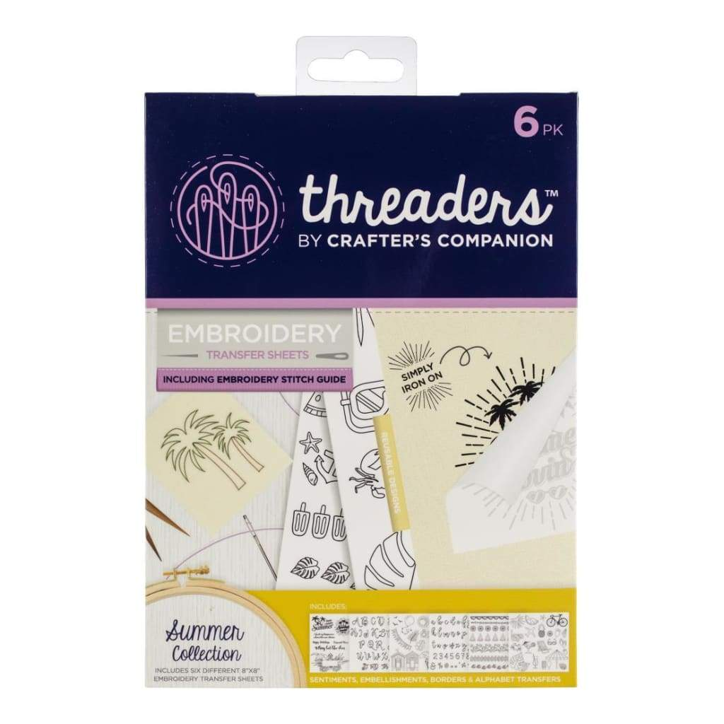 """Summer 6 different 8x8/"""" sheets Threaders Embroidery Transfer Sheets"""