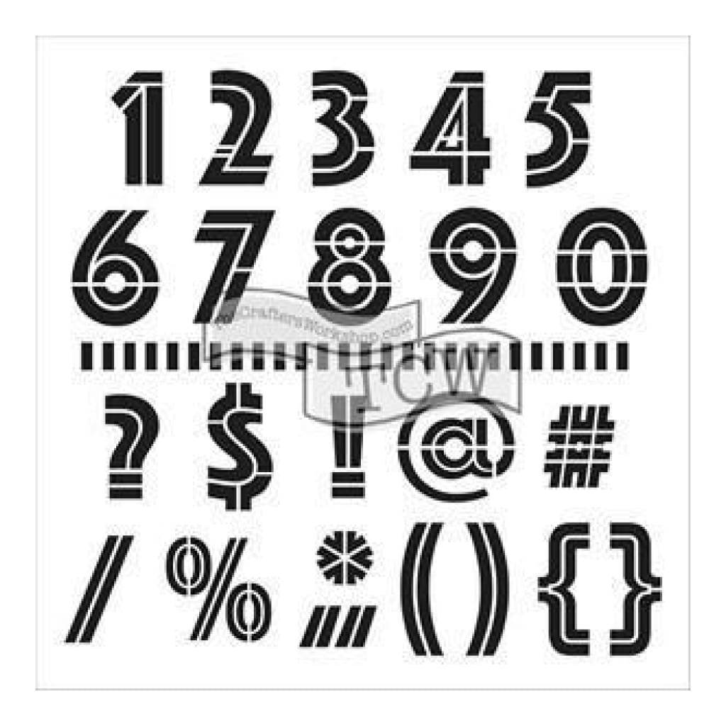 Crafters Workshop Template 6Inch X6inch - Art Deco Numbers & More