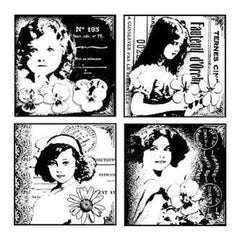 Crafty Individuals Unmounted Rubber Stamp 4.75 Inch X7 Inch   Pack  4 Pretty Young Girls