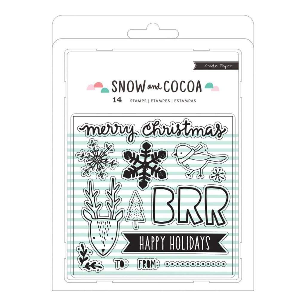Crate Paper Snow & Cocoa Clear Stamps 14 pack Snowflakes, Animals, Words