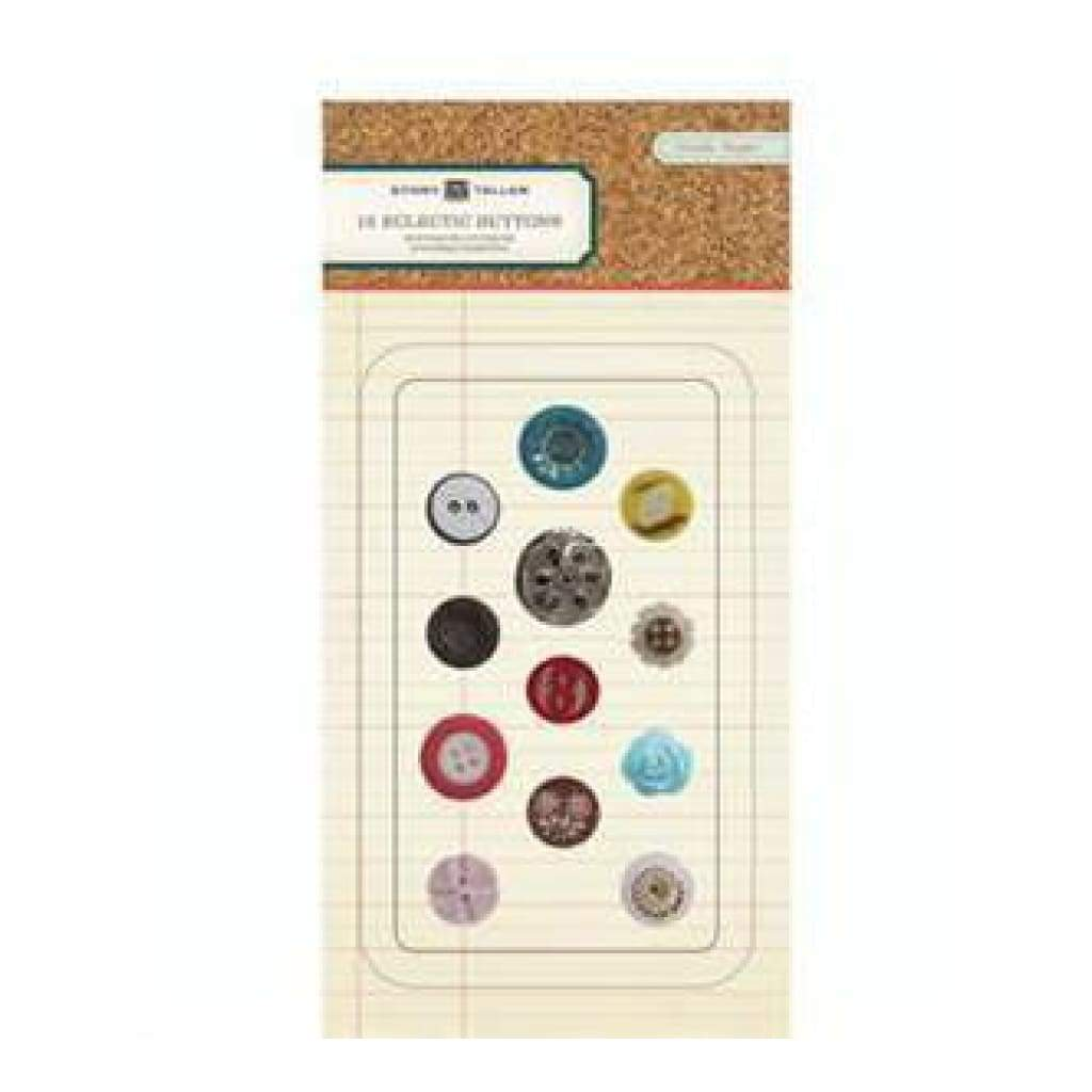 Crate Paper - Story Teller - Eclectic Buttons 12Pc