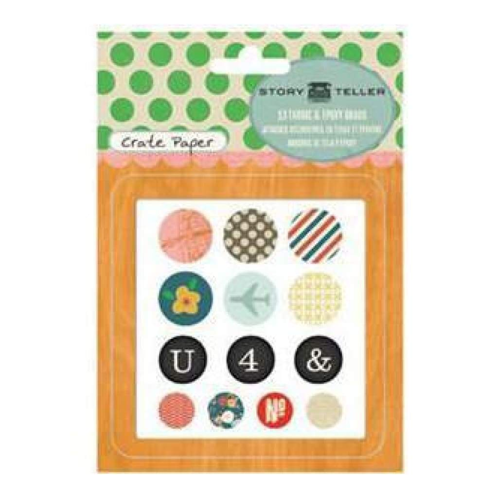 Crate Paper - Story Teller - Fabric & Epoxy Brads 13Pc