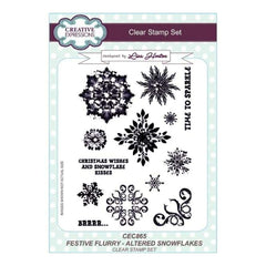 Creative Expressions Lisa Horton - Festive Flurry Altered Snowflakes A5 Clear Stamp Set