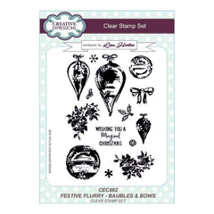 Creative Expressions Lisa Horton - Festive Flurry Baubles & Bows A5 Clear Stamp Set