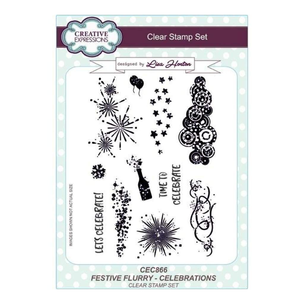 Creative Expressions Lisa Horton - Festive Flurry Celebrations A5 Clear Stamp Set