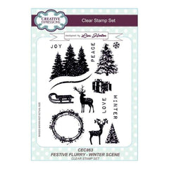 Creative Expressions Lisa Horton - Festive Flurry Winter Scene A5 Clear Stamp Set