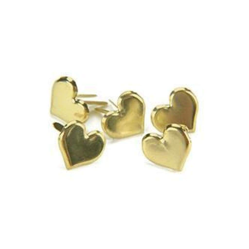 Creative Impressions - Metal Paper Fasteners 50 Pack  Hearts - Gold