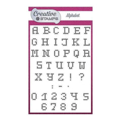 Creative Stamps A6 Stamp Set Alphabet Set of 42 - Cross Stitch Collection