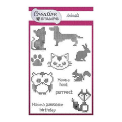 Creative Stamps A6 Stamp Set Animals Set of 11 - Cross Stitch Collection