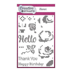 Creative Stamps A6 Stamp Set Flowers Set of 15 - Cross Stitch Collection